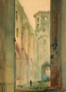 Atanov, Riga - Dome Cathedral, watercolour on paper, 1945