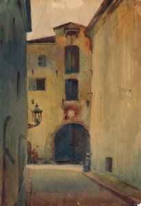 Atanov, Street of Old Riga, watercolour on paper, 1945